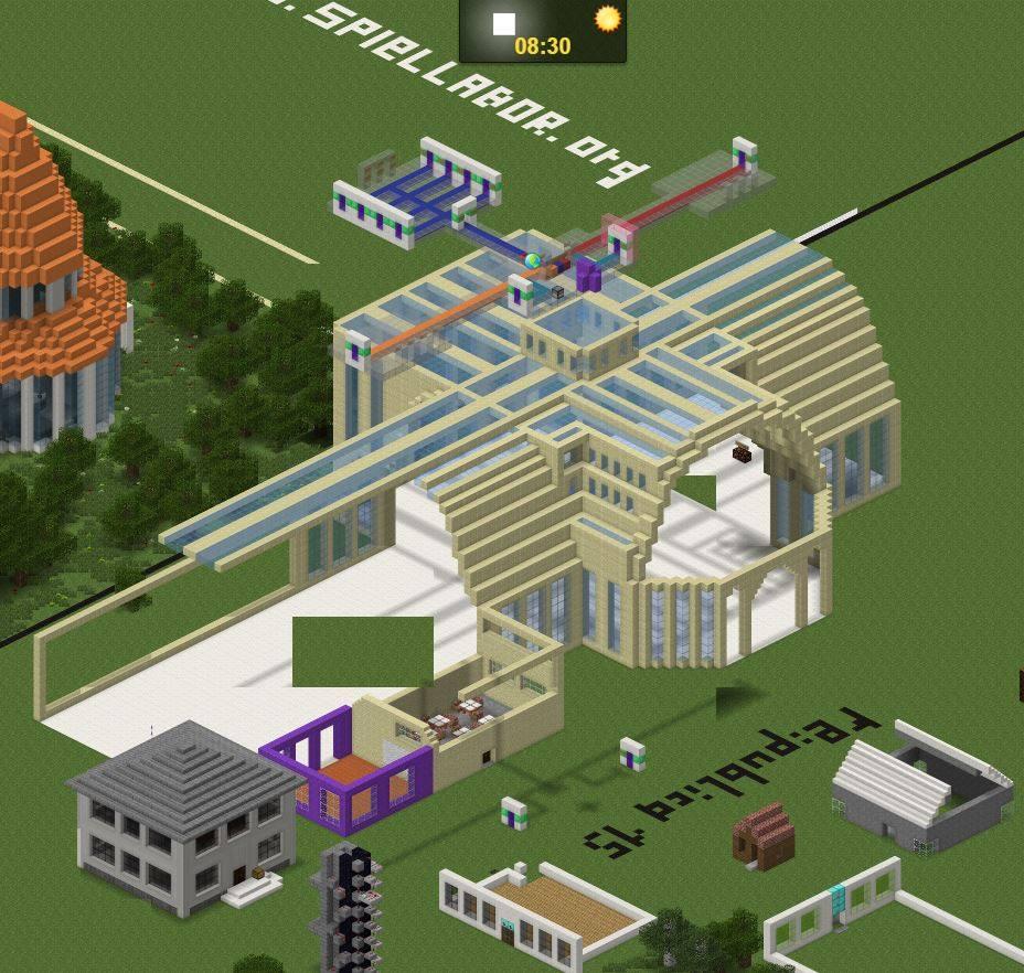 Minecraft republica isometische ansicht konferenzzentrum der Zukunft