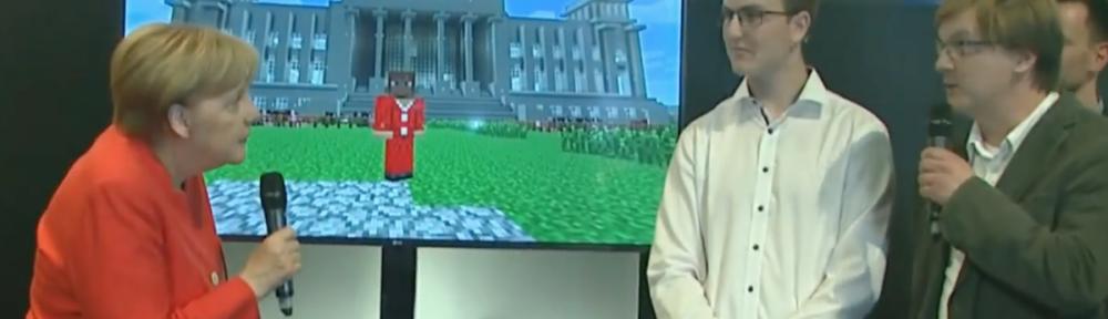 Merkel lässt in Minecraft Kühe fliegen, und das ist gut so.